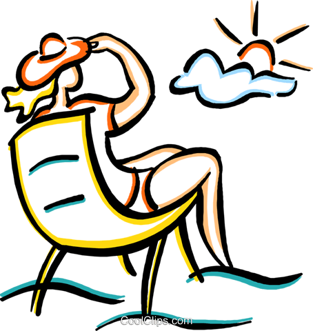 woman relaxing on the beach in a chair Royalty Free Vector.