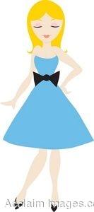 Woman In Blue Dress Clipart.