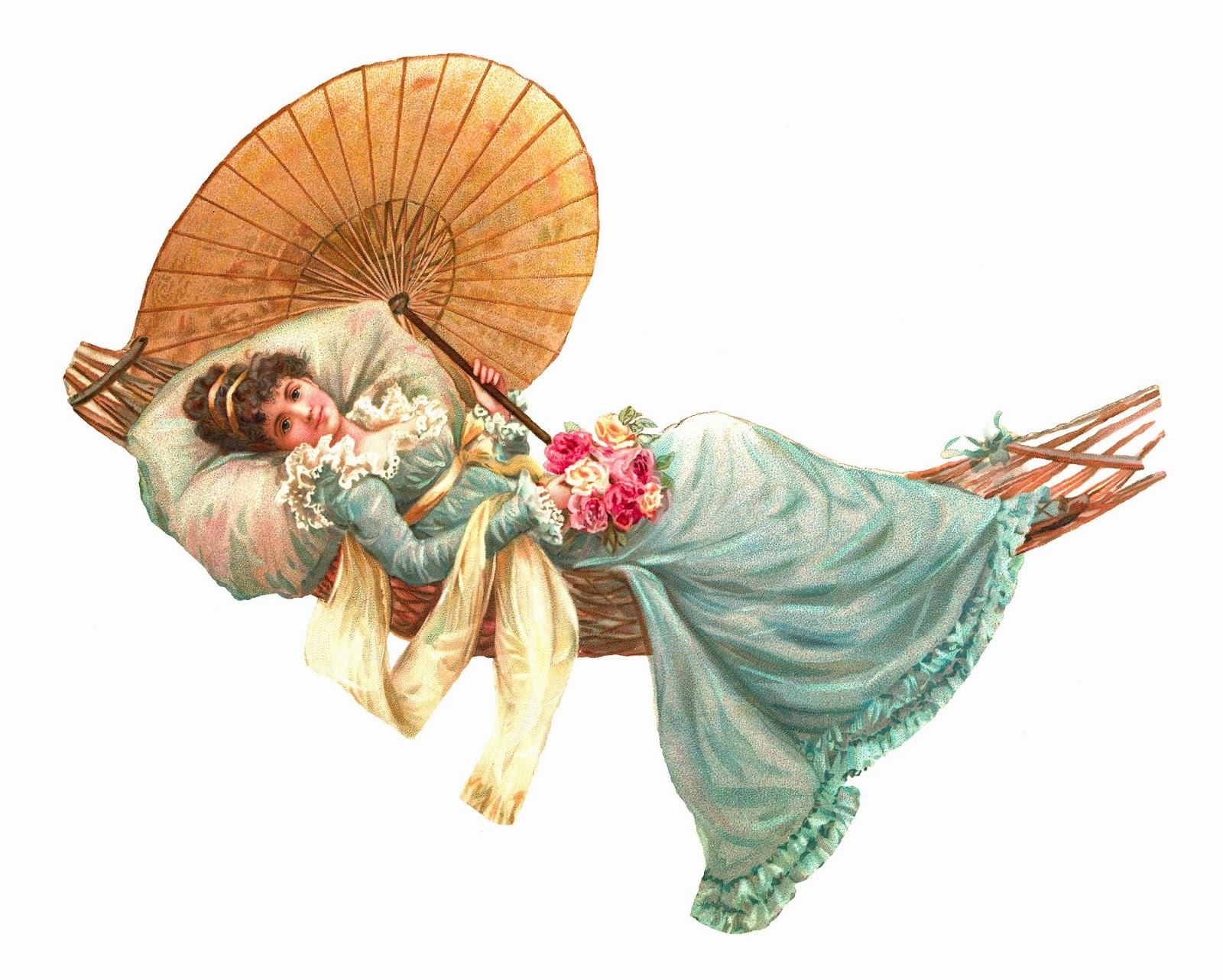 Antique Images: Free Women Clip Art: Beautiful Woman in Blue Dress.