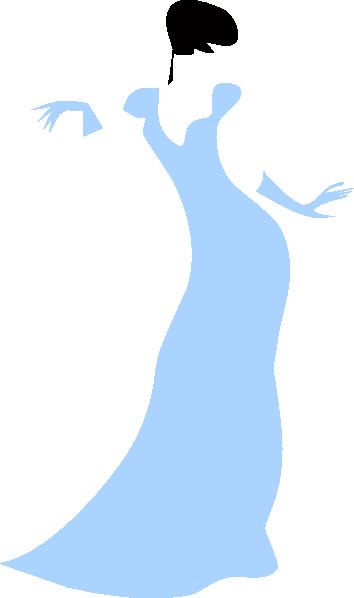 Lovely Woman In A Blue Dress Clip Art at Clker.com.