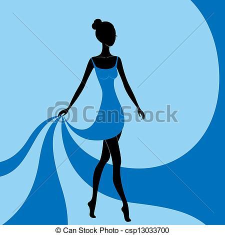 Girl Blue Dress Clipart.