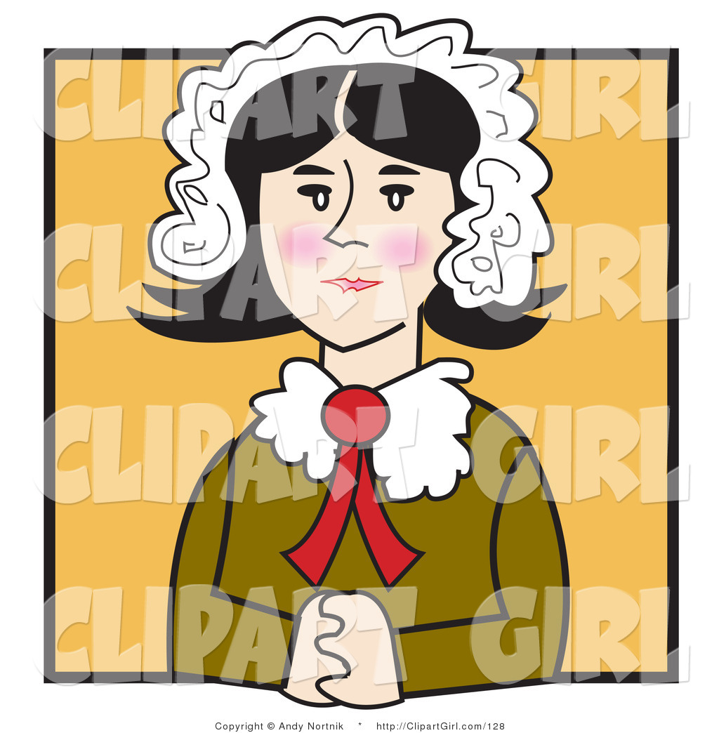 Clip Art of an Old Fashioned Quaker Woman with Flushed.
