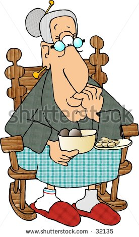 Clipart Illustration Old Woman Sitting Rocking Stock Illustration.