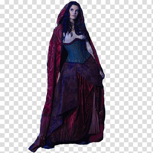 Once Upon a Time, standing woman in red cloak looking to her.