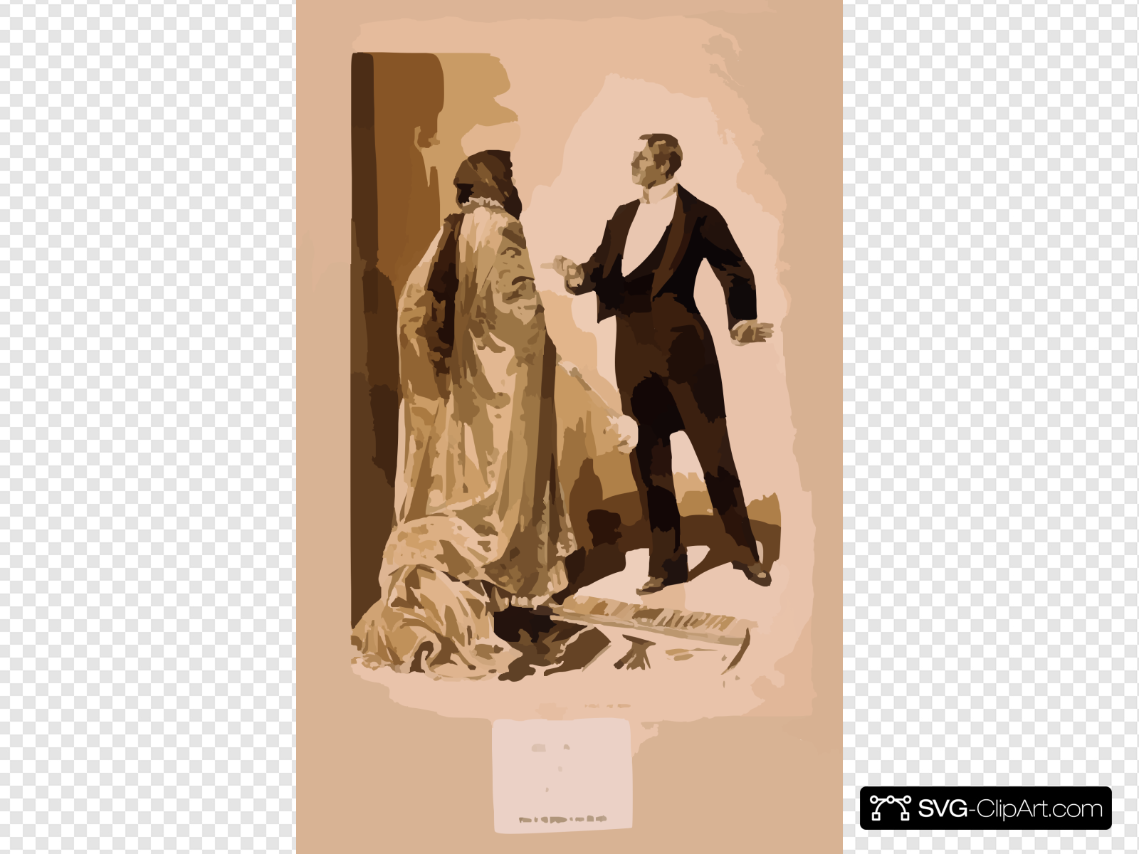 man In Tuxedo Questioning Woman In Cloak & Gloves] Clip art.