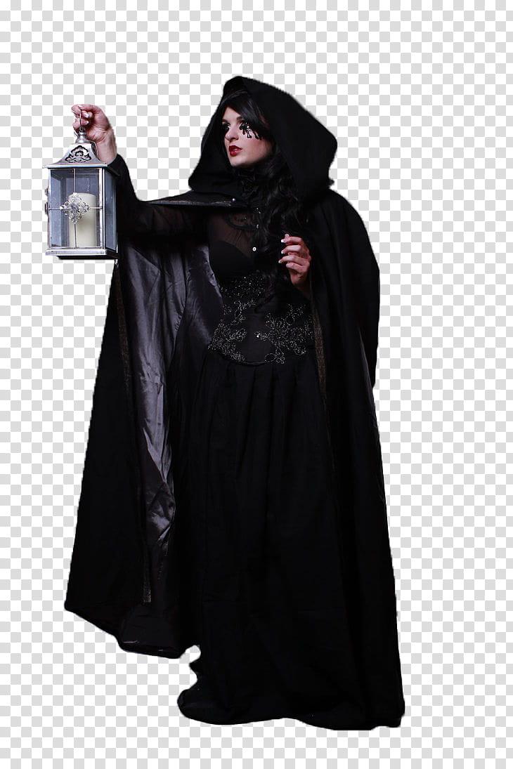 Cut Out Models , woman wearing black cape transparent.