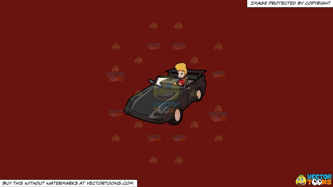 Clipart: A Woman Driving A Luxury Convertible Car on a Solid Maroon 69140E  Background.