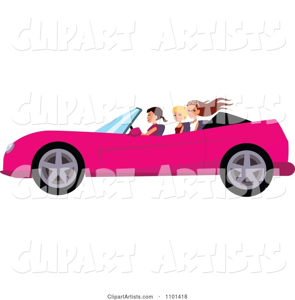 Happy Woman Driving A Pink Convertible With Her Friends In.