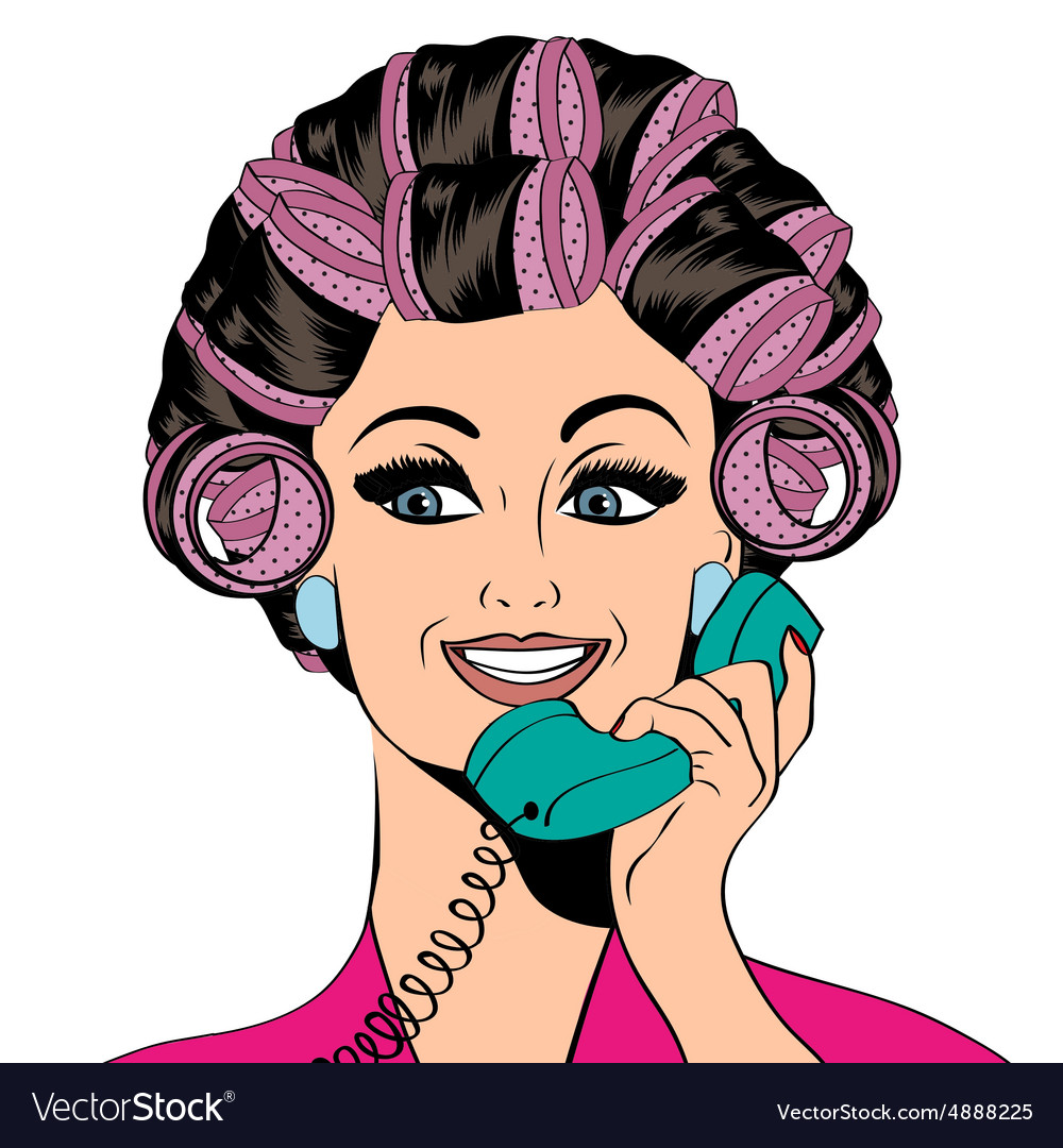Woman with curlers in their hair talking at phone.