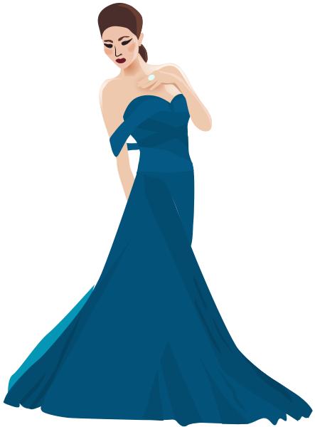 oriental woman in gown blue.