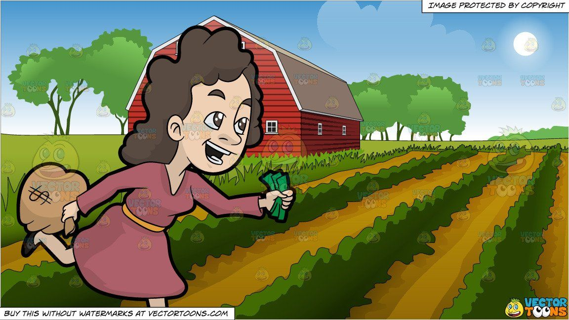 clipart #cartoon A Woman Running Away With Her Money and.