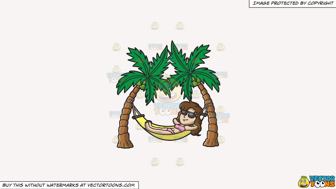 Clipart: A Woman Chilling Out In A Hammock on a Solid White Smoke F7F4F3  Background.