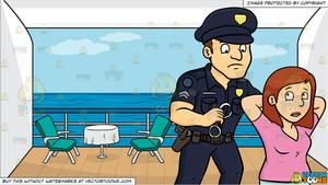 A Policeman Placing Handcuffs On A Woman and A Balcony Of A Cruise Ship  State Room Background.