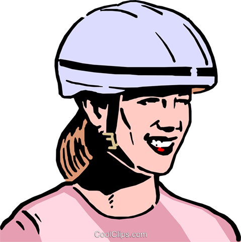 Woman wearing safety helmet Royalty Free Vector Clip Art.