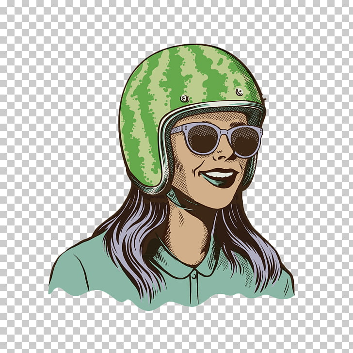Painting Illustration, Woman wearing a helmet PNG clipart.