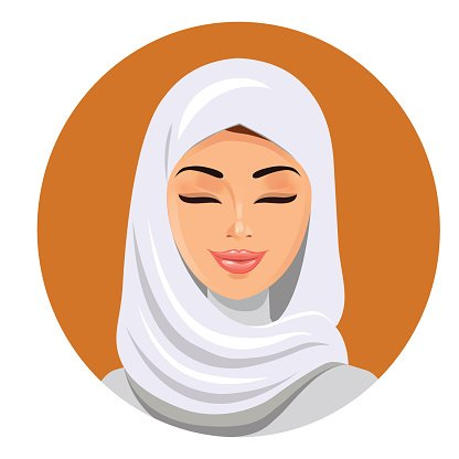 The young beautiful woman in white hijab. Clipart Image.