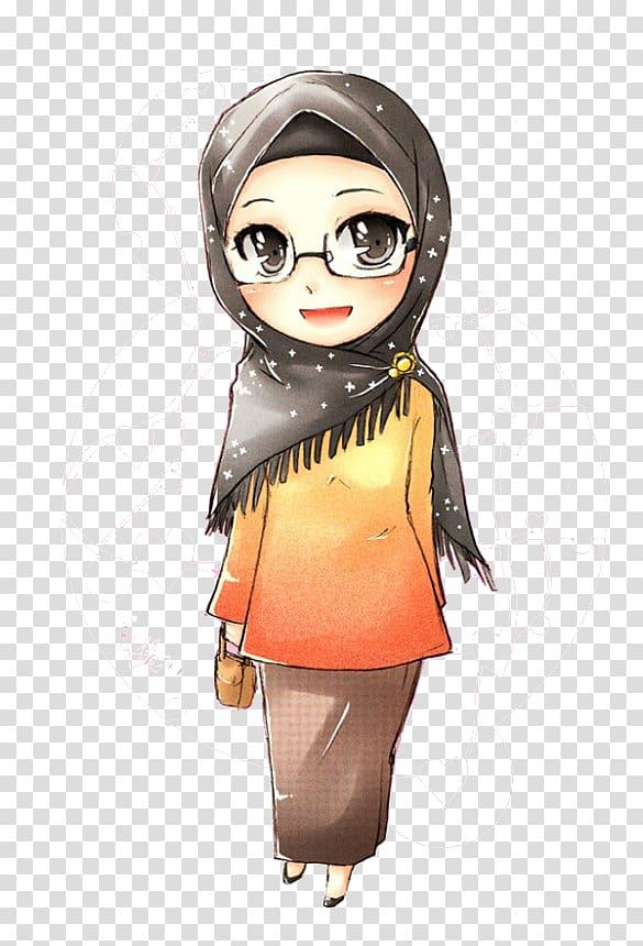 Woman in black hijab illustration, Muslim Islam Hijab Manga.