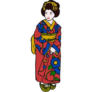 Woman in Kimono clipart, cliparts of Woman in Kimono free.