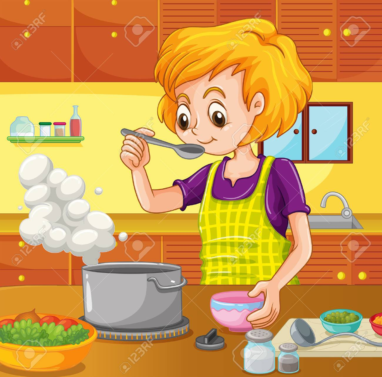 Woman cooking in the kitchen illustration.