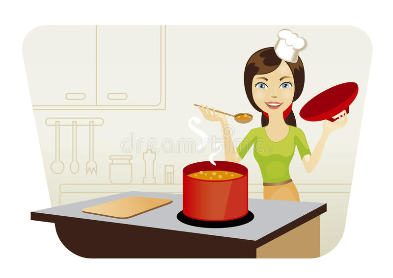 Woman Kitchen Stock Illustrations.