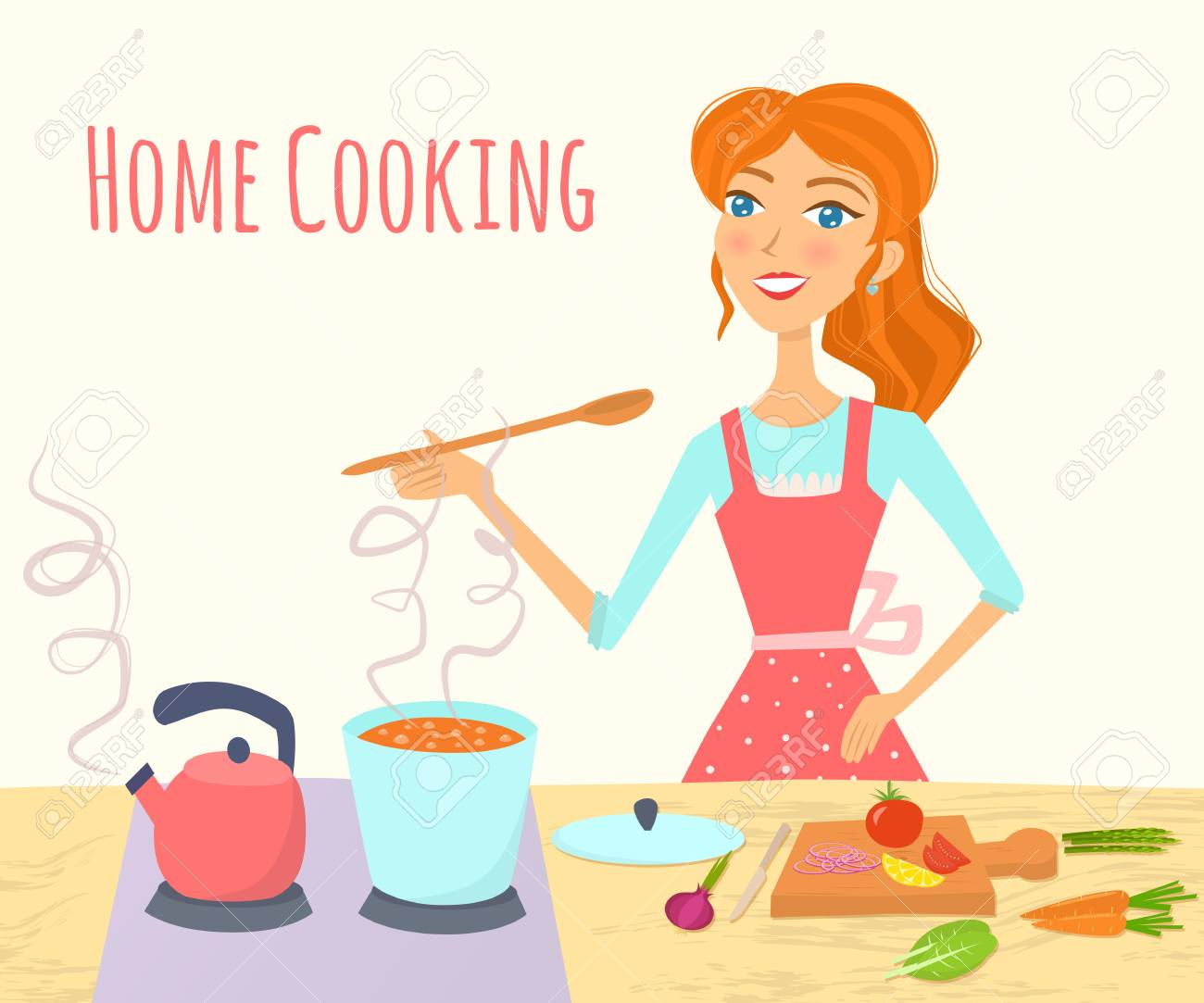Cooking woman in kitchen. Vector illustration..
