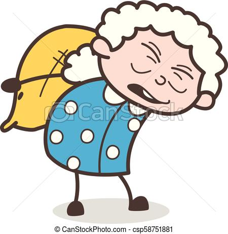 Cartoon Old Woman Labor Carrying a Pack of Sack Vector Illustration.