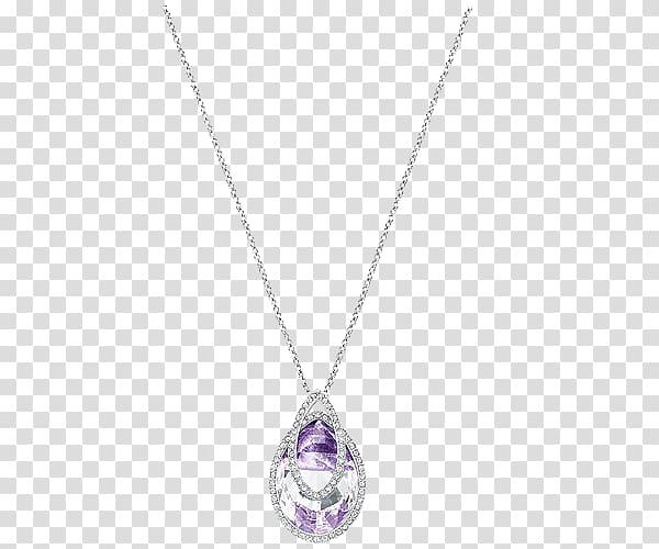 Locket Necklace Chain Purple Amethyst, Swarovski jewelry.