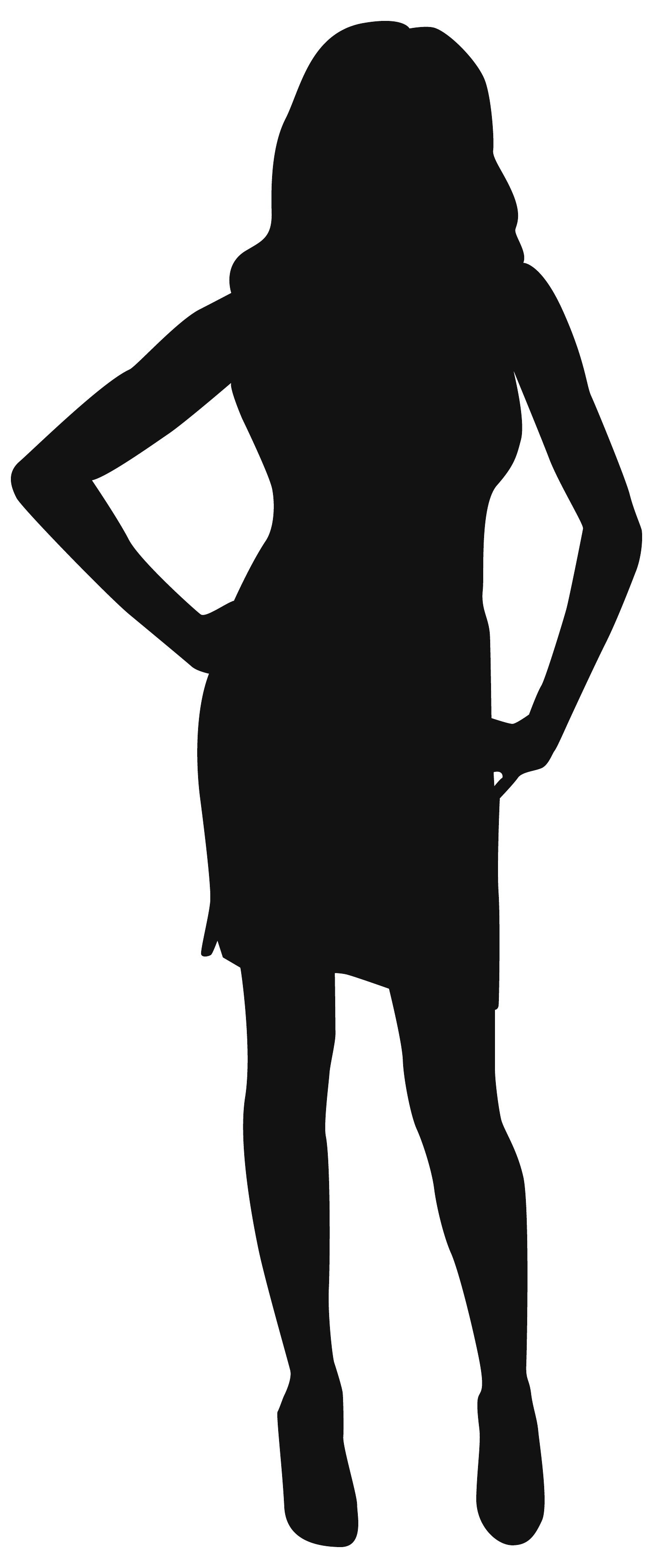 Woman standing silhouette with dress.