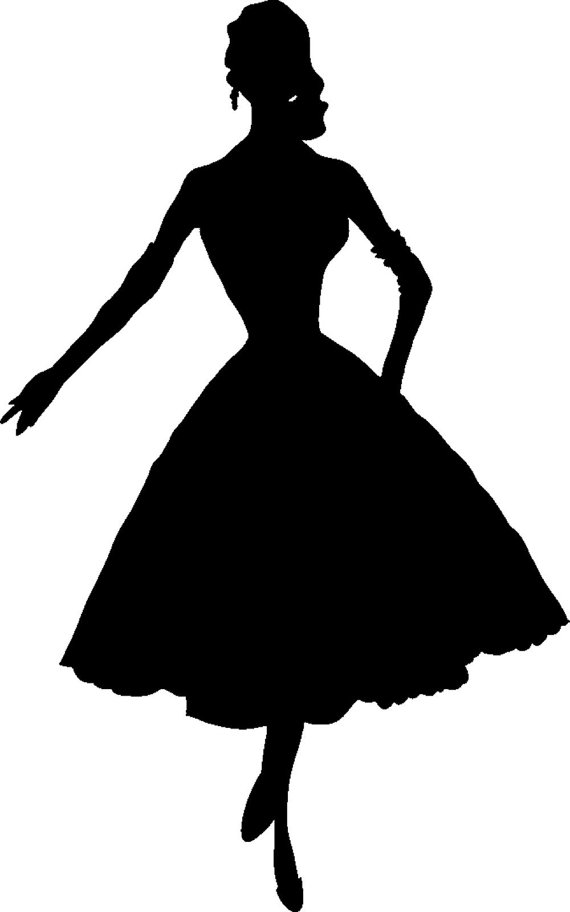 Woman Silhouette In Dress Standing Clipart.