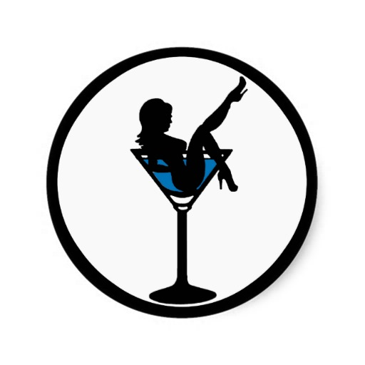 Martini glass girl silhouette blue drink stickers.