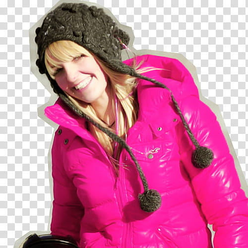 R, cutout of woman wearing critter hat and pink hooded.