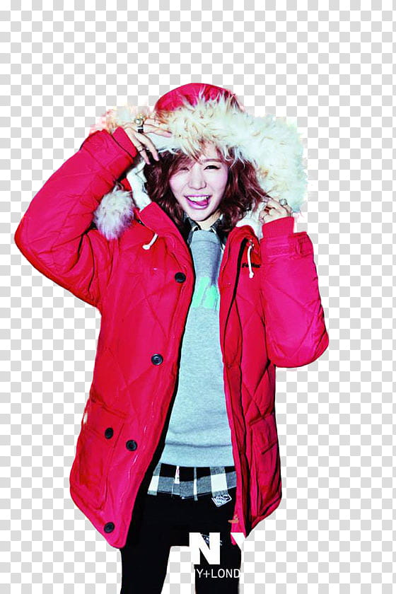 Sunny SNSD, smiling woman wearing red parka jacket.