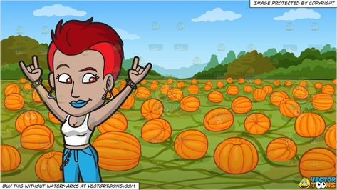 clipart #cartoon A Female Punk Rocking On and A Pumpkin.
