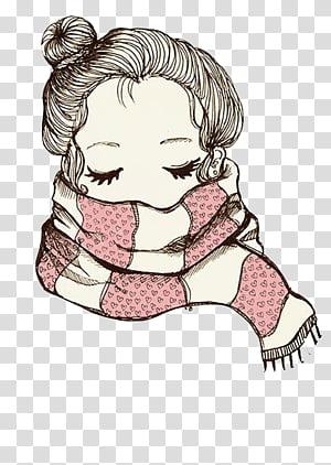 Vintage, woman wearing scarf illustration transparent.