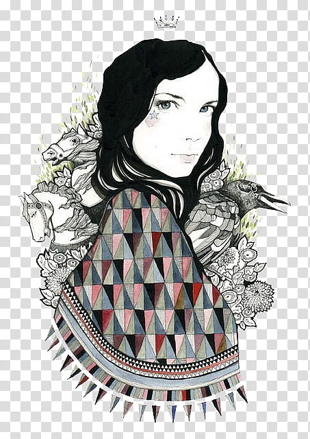Miscellaneous s, woman with scarf illustration transparent.
