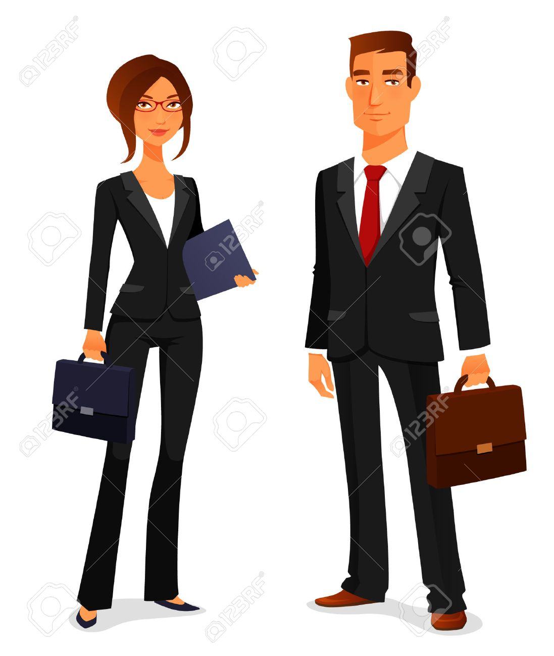 young man and woman in elegant business suit.