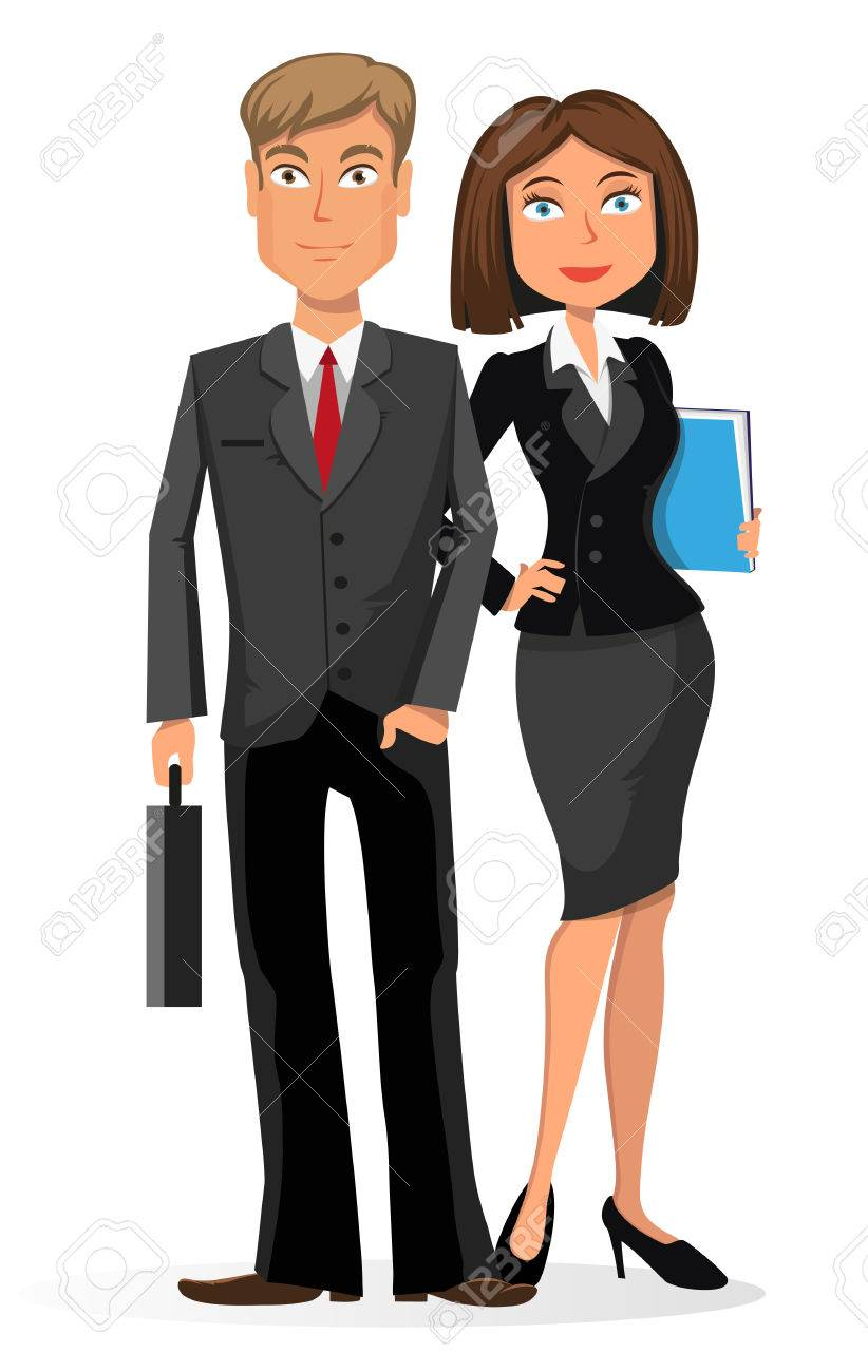 Businessman and businesswoman. Young man and woman in business...