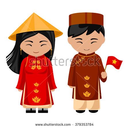 Vietnamese in national dress with a flag. A man and a woman in.