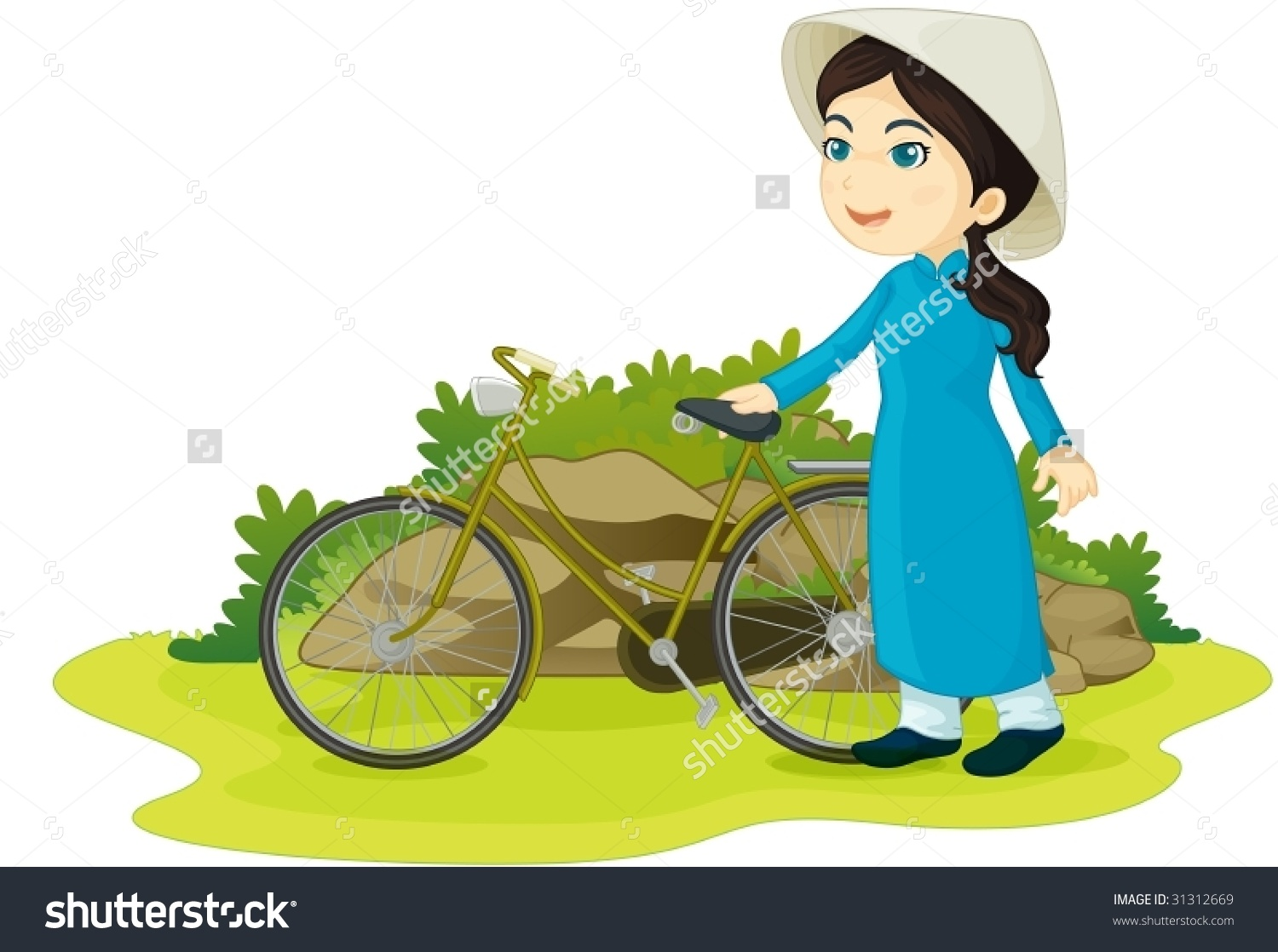 Illustration Girl Bicycle Stock Vector 31312669.