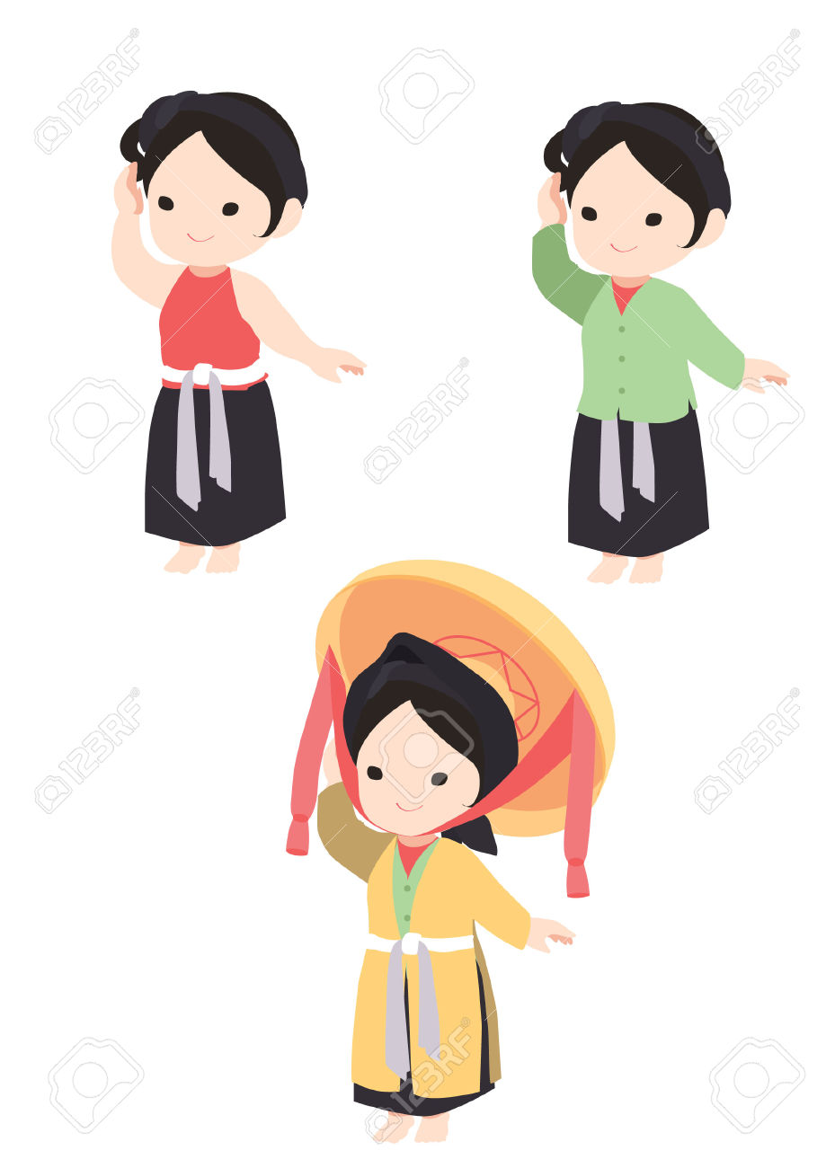 Vietnamese Girl In Traditional Dress Royalty Free Cliparts.