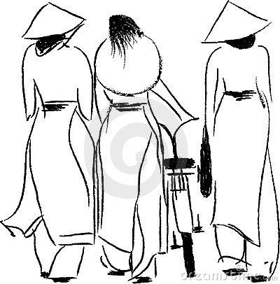 Vietnamese Women Clipart.