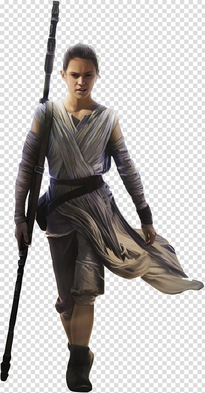 Star Wars Rey , woman wearing white robe holding wand.