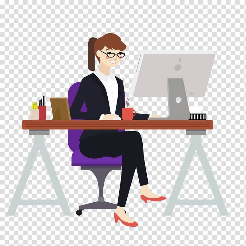 Woman sitting in front desk illustration, Euclidean Computer.