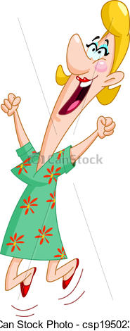 Excited Woman Clipart.