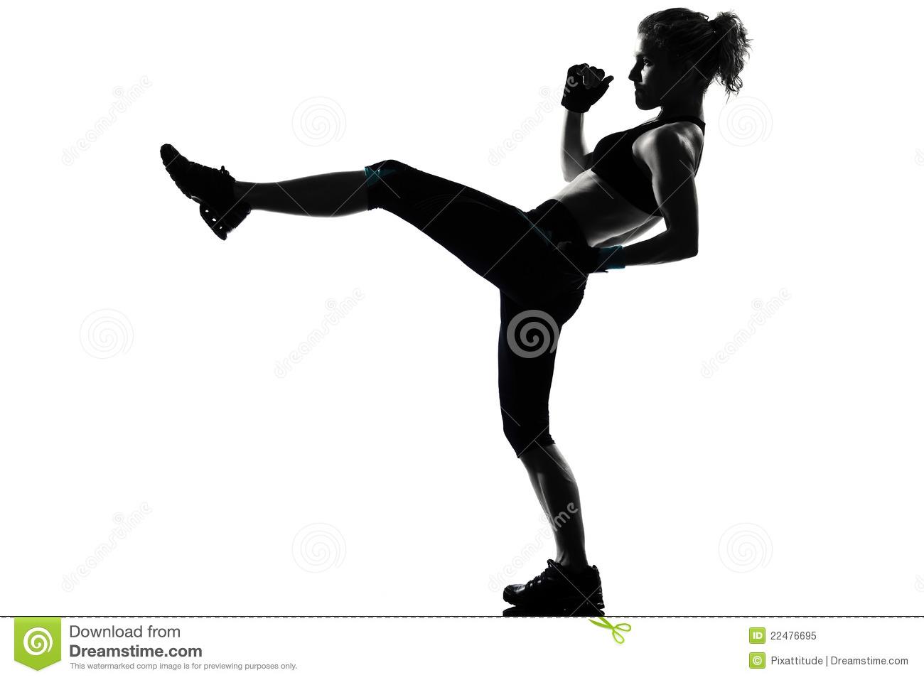 Woman Kickboxing Posture Boxer Boxing Stock Photo.