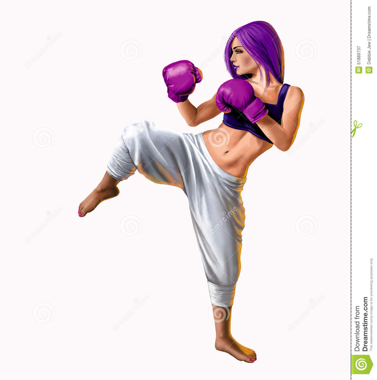 Woman Kickbox Clipart.