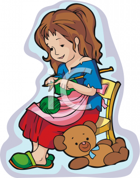 Girl Knitting Clipart.