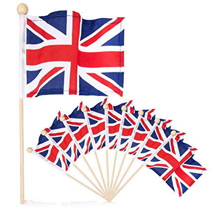Premium 4x6 Inch UK British Union Jack English hand held flag with safety  ball top 10 pack.