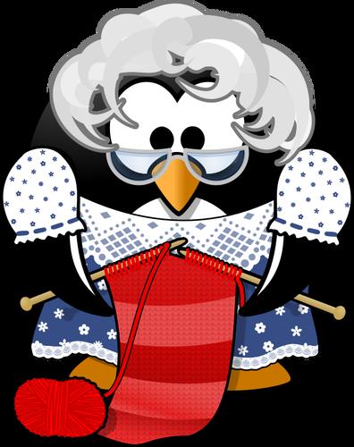 Vector clip art of grandma penguin knitting.