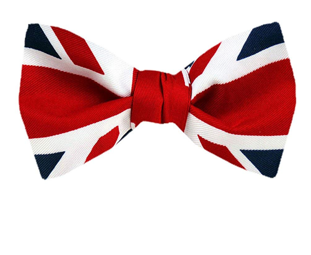 FBT FLAG 313 Red White Blue UK Flag Union Jack Self Tie Bow Tie Red White  Blue One Size.